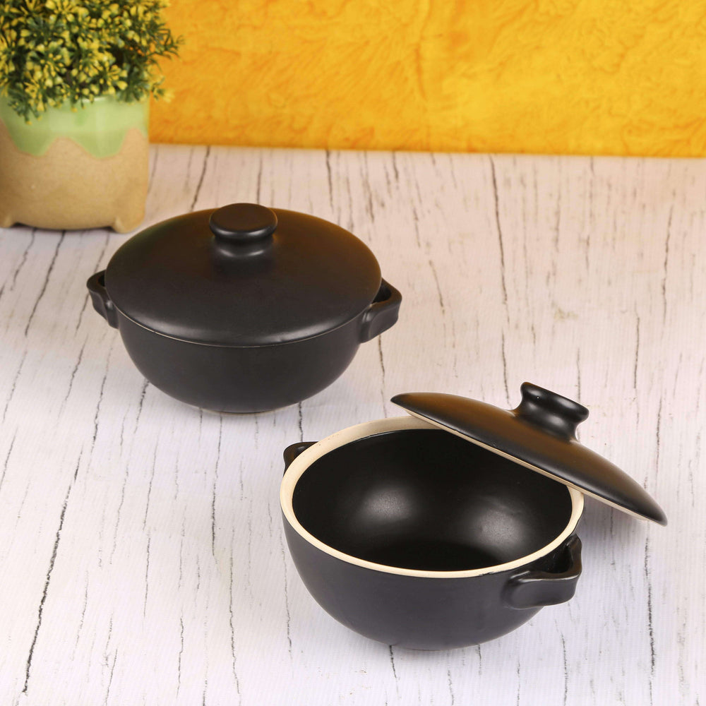 Set Of 2 Black Ceramic Serving Bowls With Lids - artystagallery