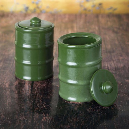 Set Of 2 Green Ceramic Storage Jars With Lids - artystagallery