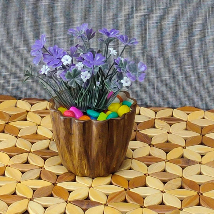 Wood Accent Set of 2 Indoor Planters In Ceramic - artystagallery