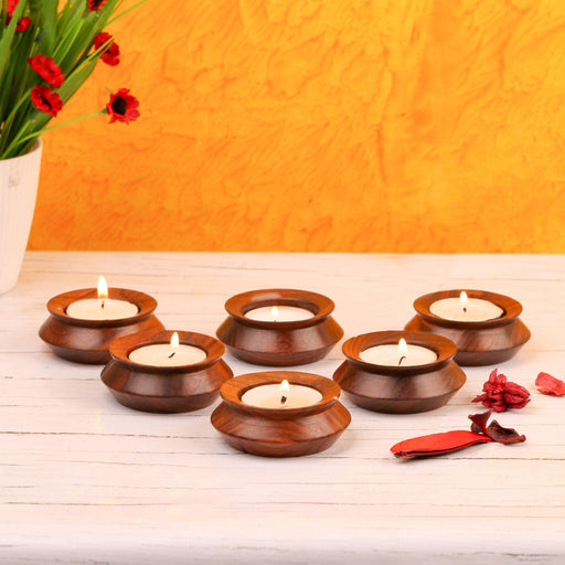 Set of 6 Handi Shaped Wooden Tealight Candle Holder - artystagallery