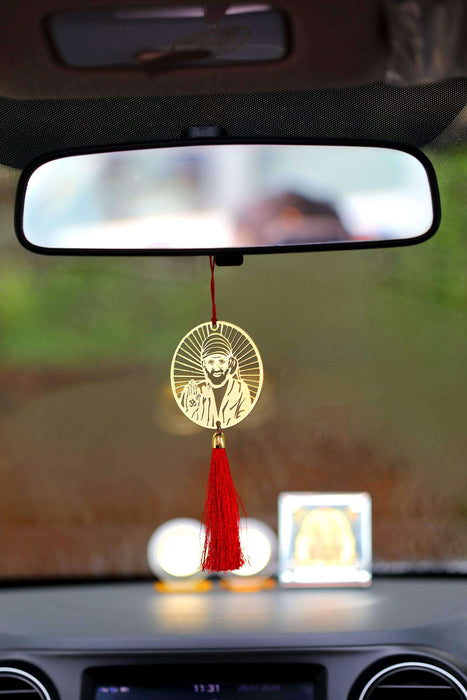 Shirdi Sai Baba Car Hanging Accessories for Car- Red - artystagallery
