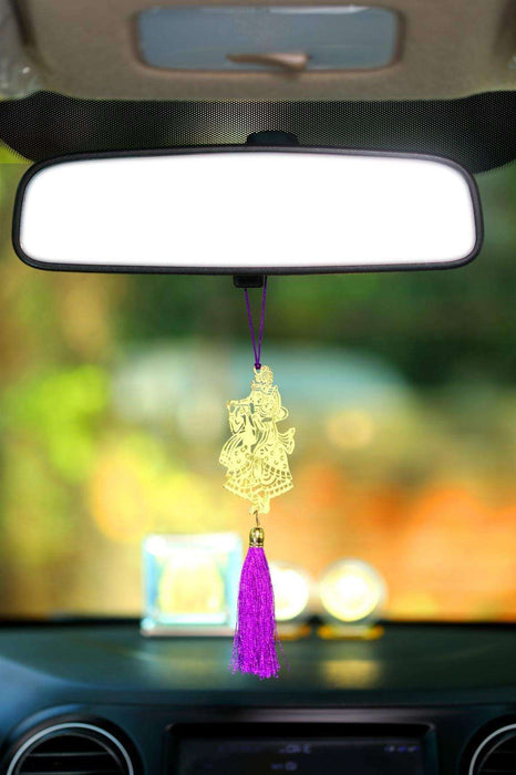 Shri Radha Krishna Car rear view mirror hanging Decor accessories in Brass - artystagallery