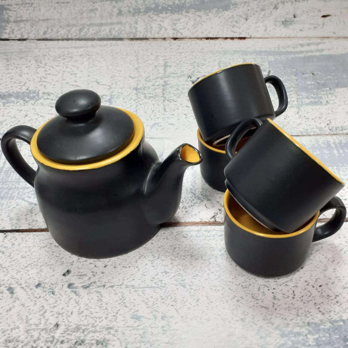 Stoneware Teapot Set / Black And Yellow Kettle With Cups - artystagallery