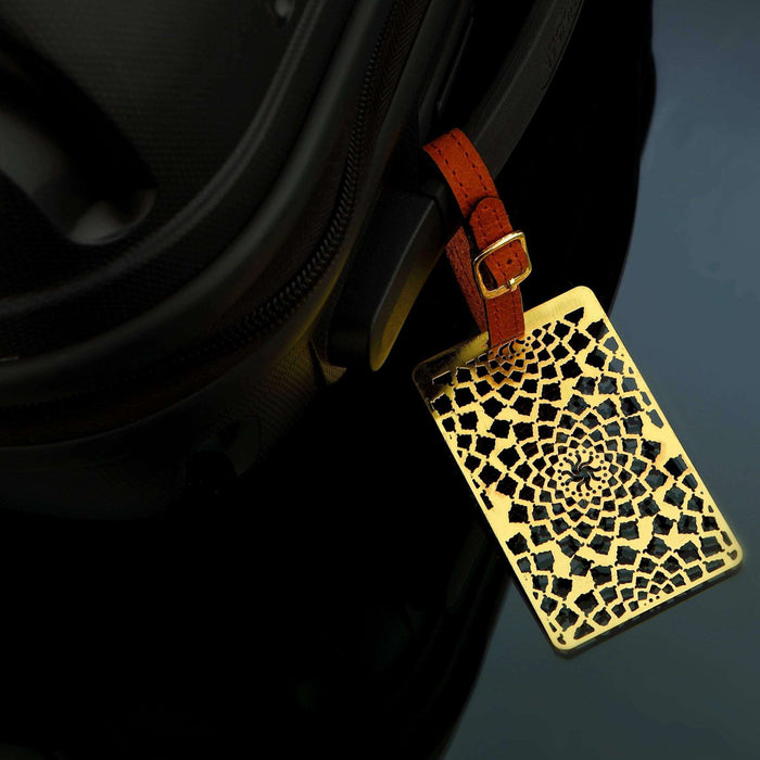 Taj Jaali Brass Metal Travel Luggage Suitcase Label ID Tag with genuine leather straps - artystagallery