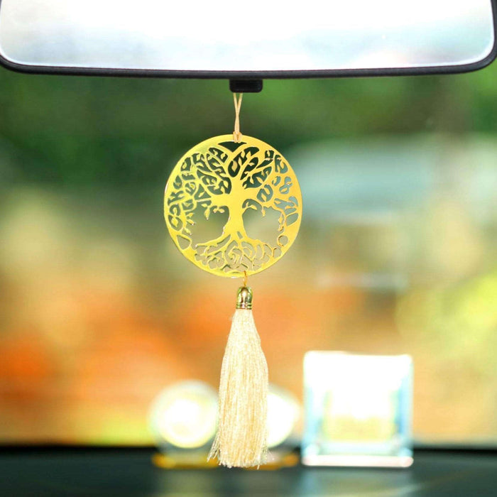 Tree of Life Car rear view mirror hanging décor accessories in Brass - artystagallery