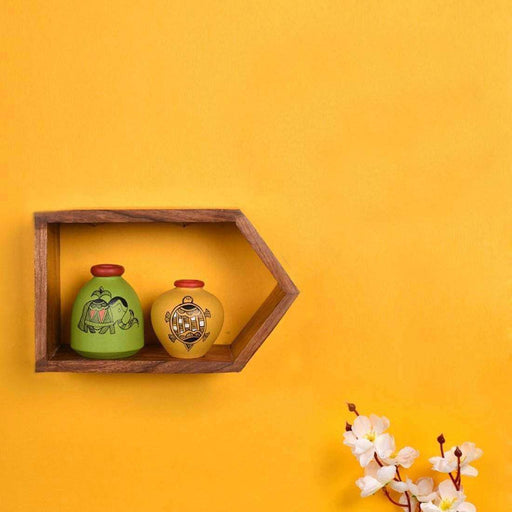 Wall Mounted Wooden Shelves With Terracotta Vases| Decorative Earthen Pots With Wall Showcase - artystagallery