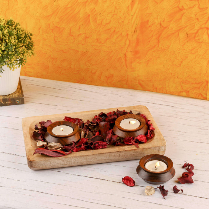 Wooden Diya Candle Holder With Platter / Gift Item - artystagallery