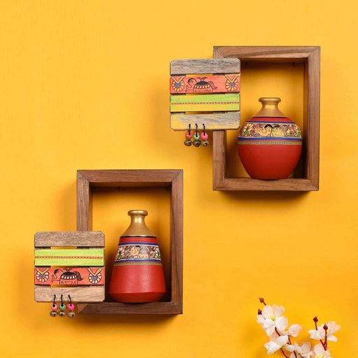 Wooden Wall Mounted Shelves For Living Room| Decorative Wall Shelf With Pots - artystagallery