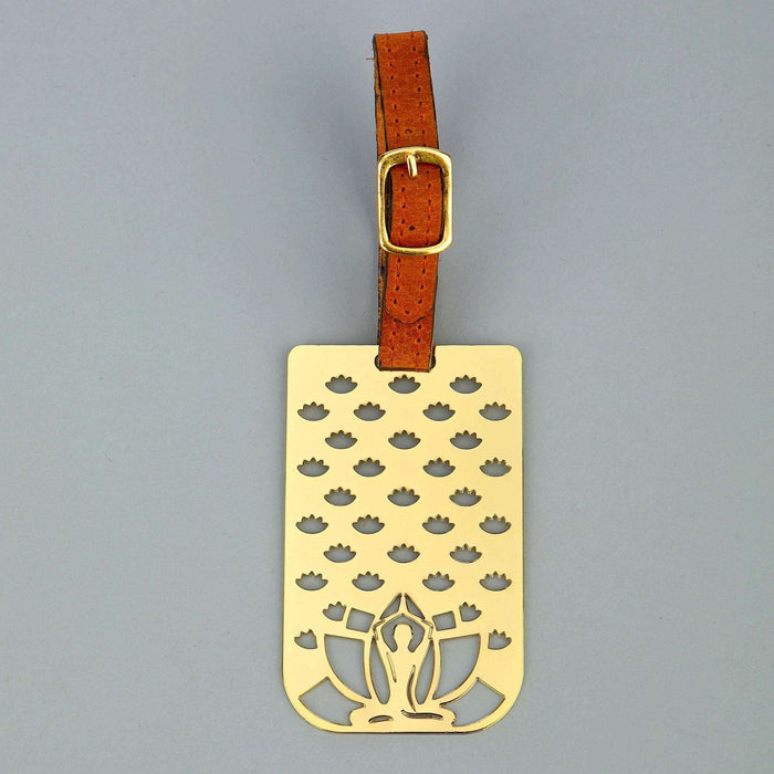 Yoga Brass Metal Travel Luggage Suitcase Label ID Tag with genuine leather straps - artystagallery
