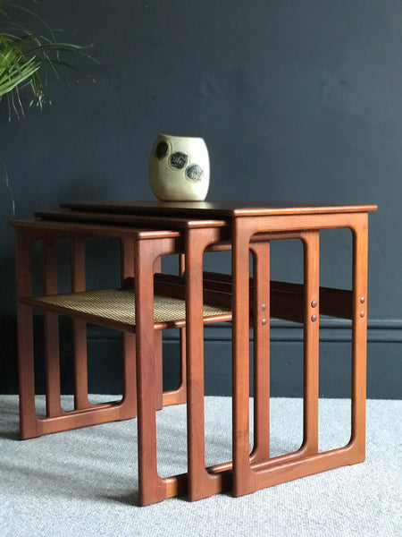 Johannes Andersen and Illum Wikkelsö nest of teak and cane tables