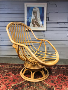 Bamboo Cane swivel Egg chair