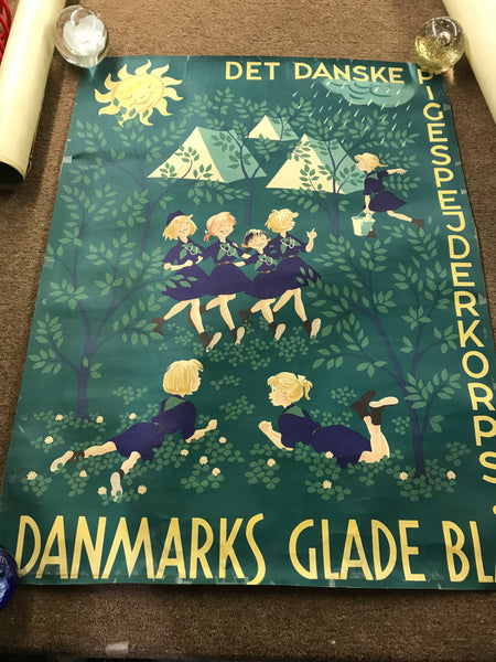 Danish Girl Guides vintage poster