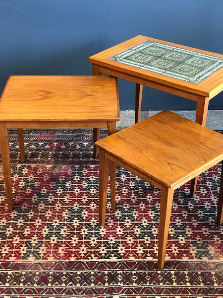 • Danish teak nest of tables with green Royal Copenhagen tiles