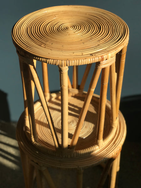 Round retro cane nest of tables • bamboo • mid century • vintage