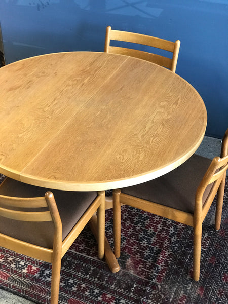 Danish mid century oak dining table and chairs • Poul Volther J61 • Henning Kjaernulf