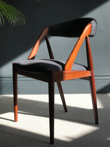 Kai Kristiansen no. 31 mid-century teak chair in new charcoal grey fabric