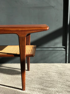 Retro mid-century teak surfboard coffee table with cane shelf