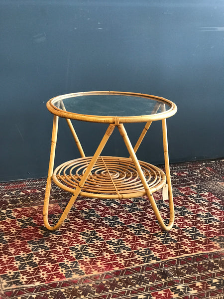 Round bamboo and glass table • boho • coffee table • retro