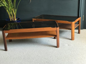 Myer smoked glass teak coffee table