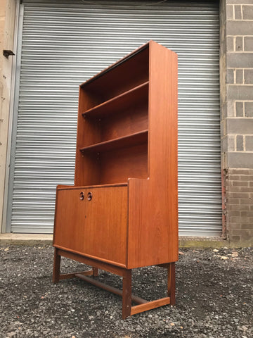 Turnidge of London teak retro drinks cabinet / bookcase / display unit