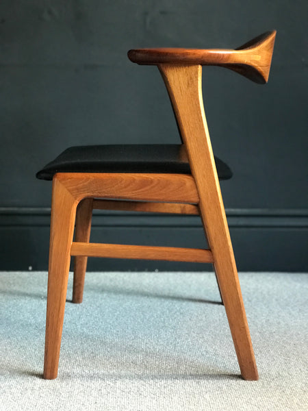 Erik Kirkegaard no 49 teak desk chair with black vinyl • Danish • retro • mid century