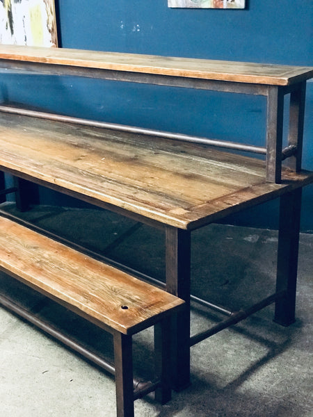 Industrial timber and steel dining table and benches