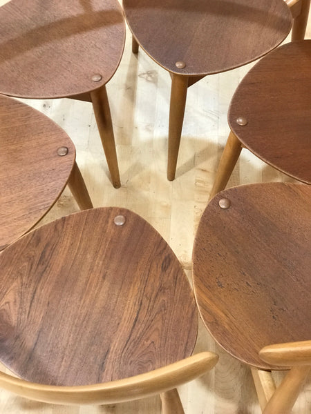Hans Wegner 'heart' FH 4103 teak and beech dining chairs (6)