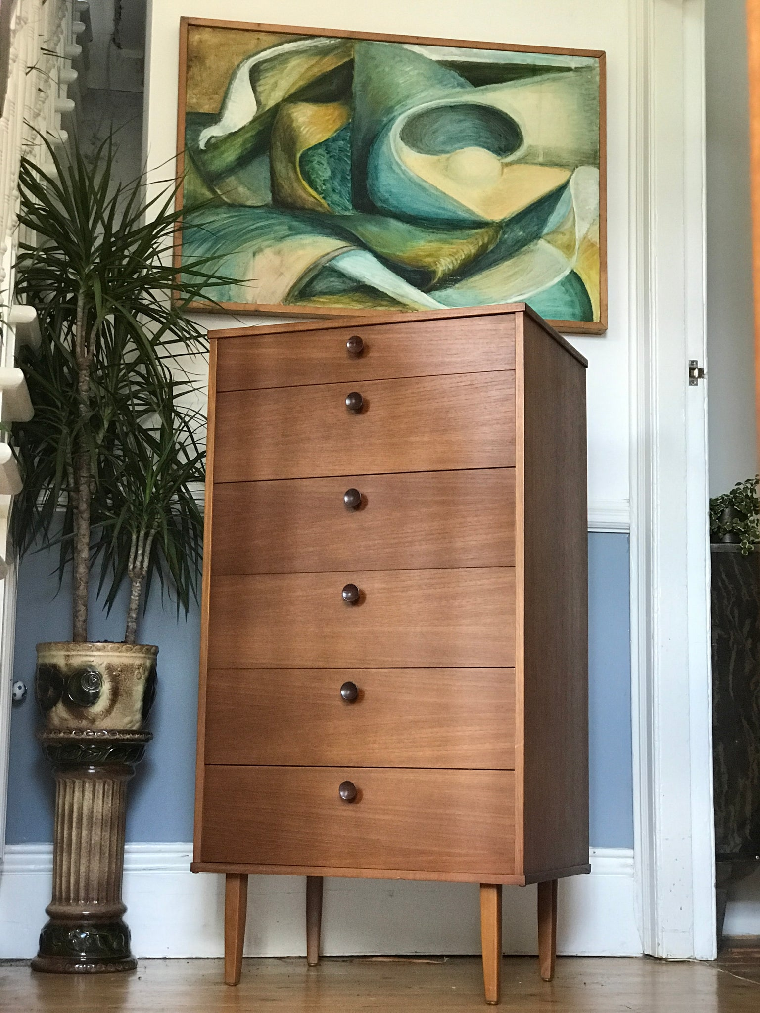 Avalon teak tallboy chest of drawers
