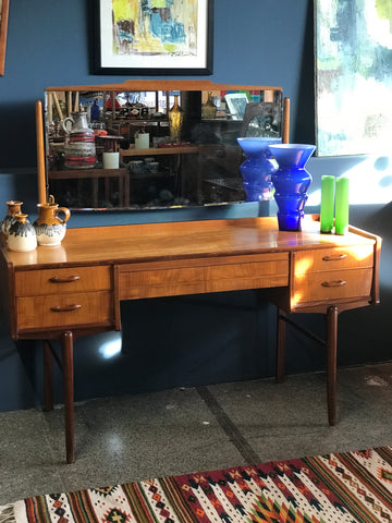 Alfred Cox mid century walnut dressing table • retro • vintage