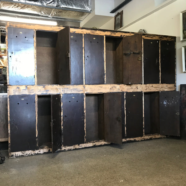 Vintage wooden bowling lockers • antique lockers • Industrial wooden lockers