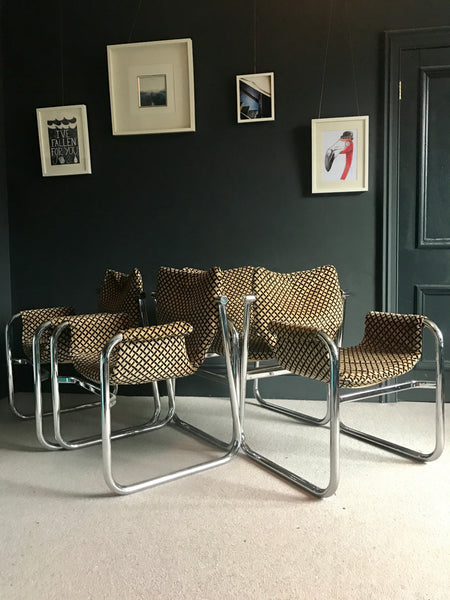 4 x Retro chrome Alpha dining chairs by Maurice Burke for Arkana