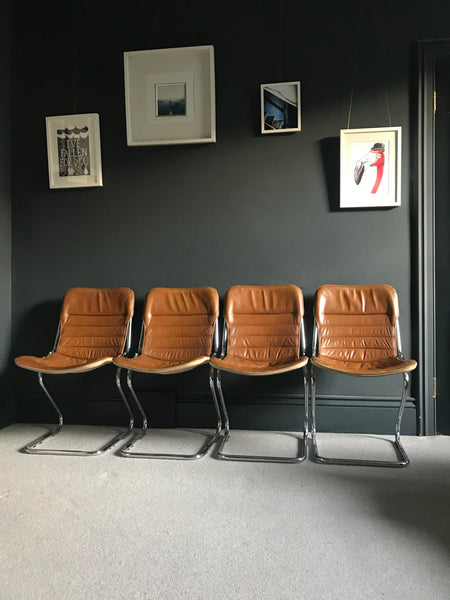 Tan leather and chrome cantilever 70s Italian chairs