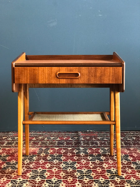 Swedish mid-century teak and beech bedside table