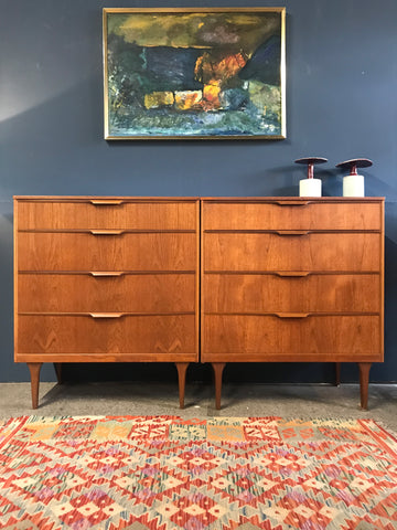 Mid-century teak chests of drawers (pair of) • retro • vintage
