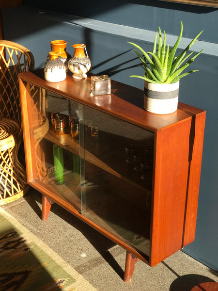 Mid-century glazed teak display unit by Herbert E Gibbs