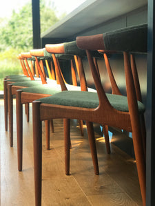 Johannes Andersen set of 4 BA113 teak dining chairs with forest green original upholstery