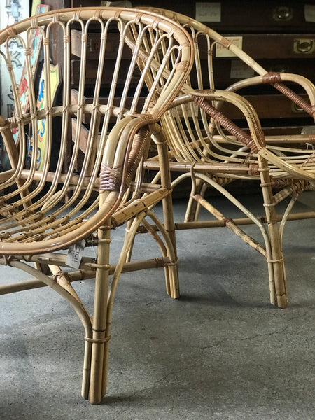 Pair of matching cane bamboo chairs • retro • vintage • boho