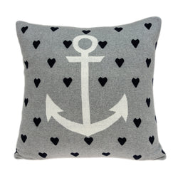 Parkland Collection Decorative Nautical Blue Pillow Cover With Poly Insert PILB11050P