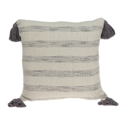 Seema Transitional Beige Printed Striped Tassel Pillow Cover