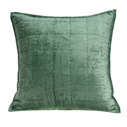 Parkland Collection Decorative Transitional Green Solid Quilted Pillow Cover PILE11169C
