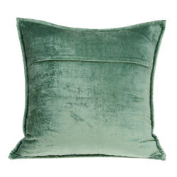 Parkland Collection Decorative Transitional Green Solid Quilted Pillow Cover With Poly Insert PILE11169P