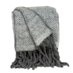 Parkland Collection Transitional Grey Handloomed Mohair Wool Throw THRE21006