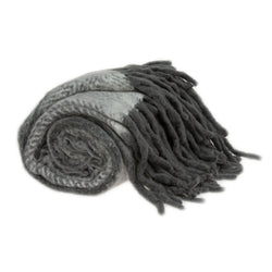 "Nagar Transitional Grey Handloomed 52"" x 67"" Mohair Wool Throw"