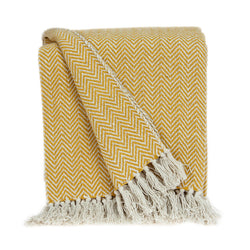 Parkland Collection Transitional Yellow Handloomed Cotton Throw THRE21026