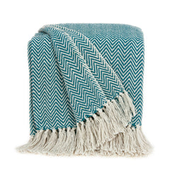 Parkland Collection Transitional Blue Handloomed Cotton Throw THRE21027