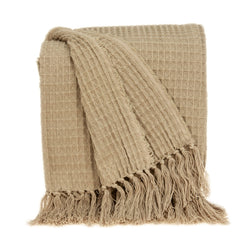 Parkland Collection Transitional Tan Handloomed Cotton Throw THRE21032