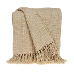 Parkland Collection Transitional Beige Handloomed Cotton Throw THRE21034