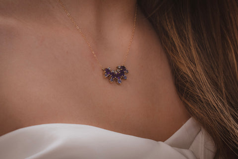 Tanzanite, Amethyst and Natural zircon 14k gold Necklace
