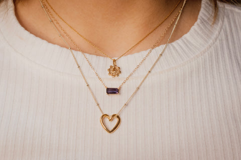 Love Machine Necklace, Gold Necklace with Purple Spinel or Gold Heart Necklace
