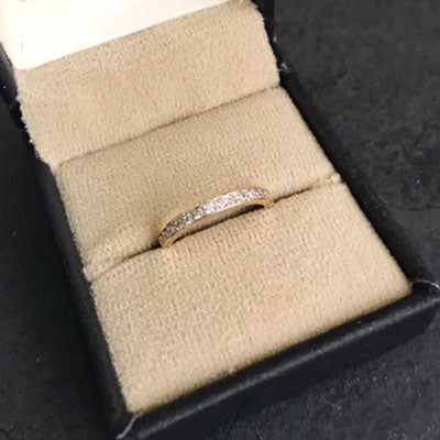 anniversary wedding band yellow gold with diamonds